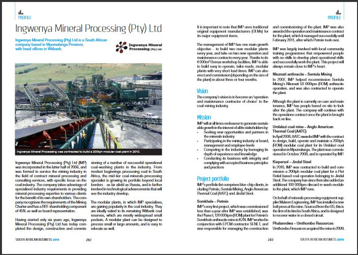 Article on Ingwenya Mineral Processing in South Africa business 2014.